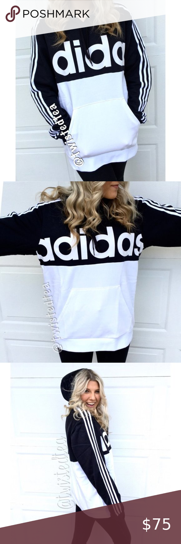 New Adidas Spell Out Pullover Hoodie Sweatshirt Xl Sweatshirts Hoodie Striped Hoodie Adidas Hoodie Women [ 1740 x 580 Pixel ]