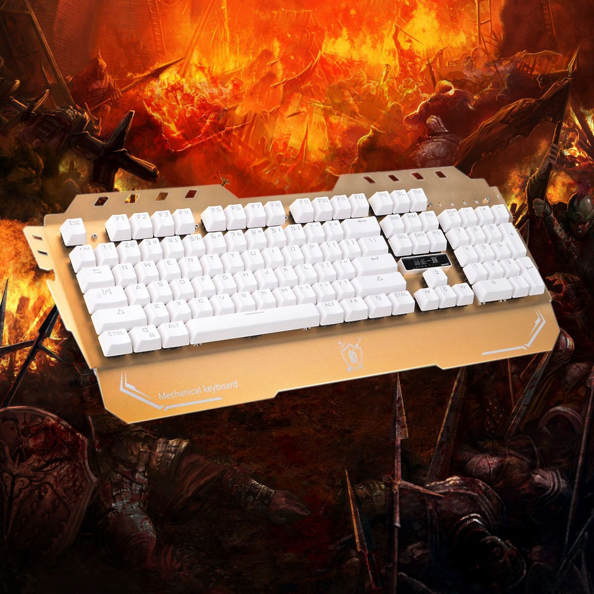 Jianshengyizu 104-key USB Wired Mechanical Gaming Keyboard - Champaign Golden White