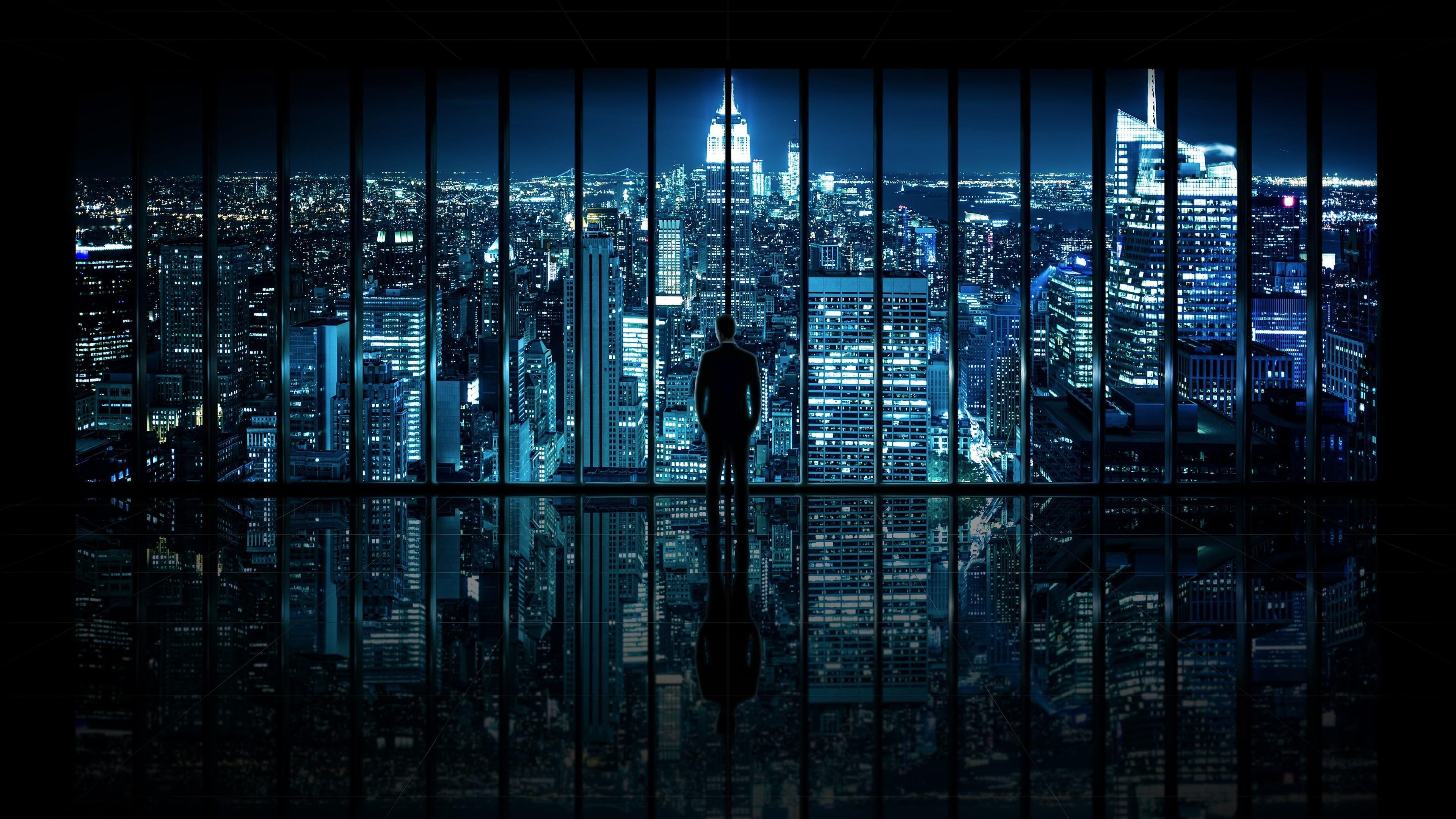 Gotham City Gotham Night Window Cityscape City Lights Metropolis Man Darkness Panorama View City Wallpaper Wallpaper Windows 10 Dual Monitor Wallpaper