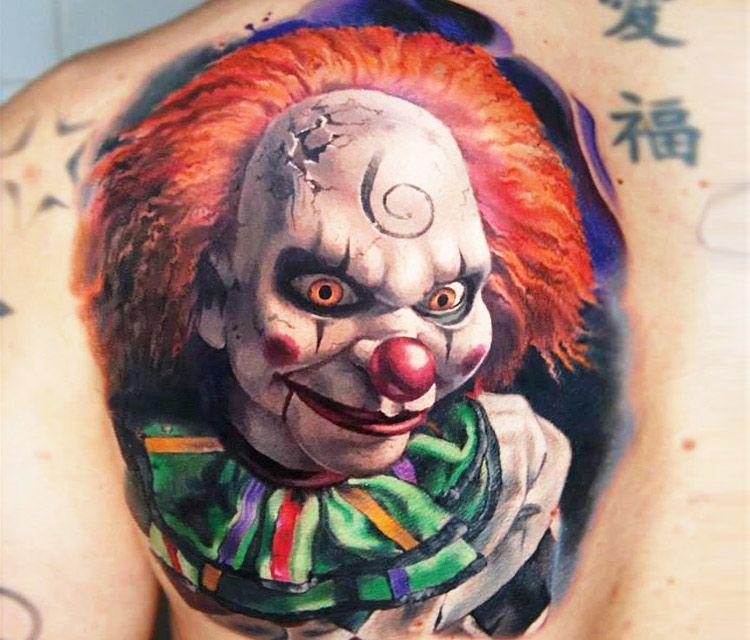 Clown Girl Tattoo Meaning: Clown Face Tattoo By Valentina Ryabova