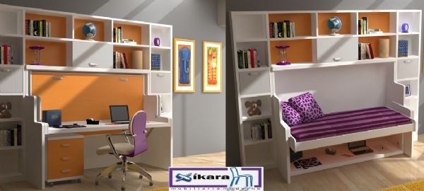 Habitacion juvenil con cama abatible con escritorio 32 cama de 90cms camas abatibles for Cama escritorio juvenil