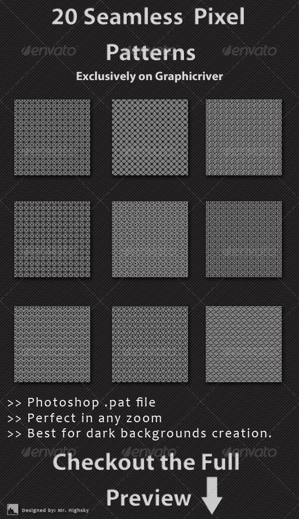 20 Seamless Pixel Patterns Graphicriver Pixel Pattern