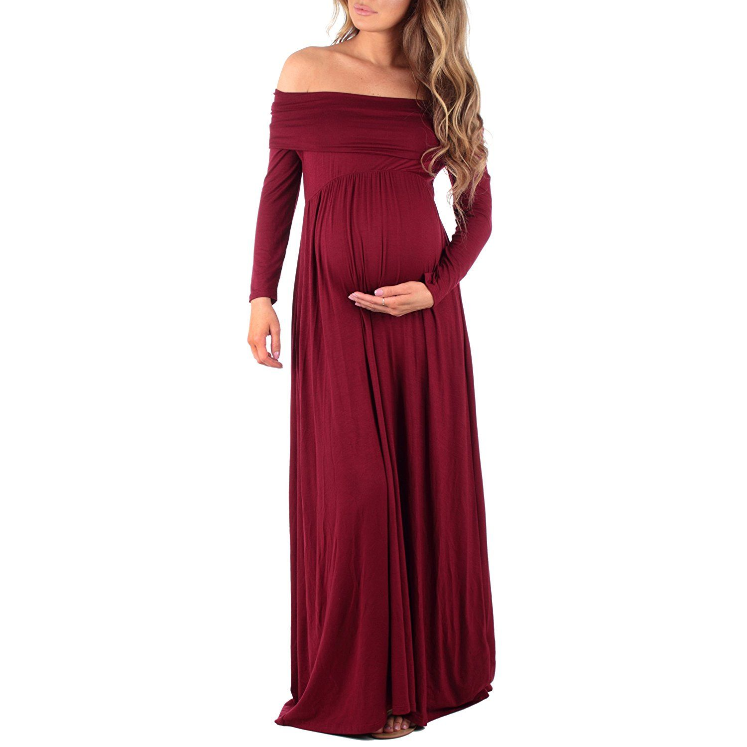 IWEMEK Womens Off Shoulder Maternity Dress Long Sleeve Pregnant Photo Shoot Maxi Gown