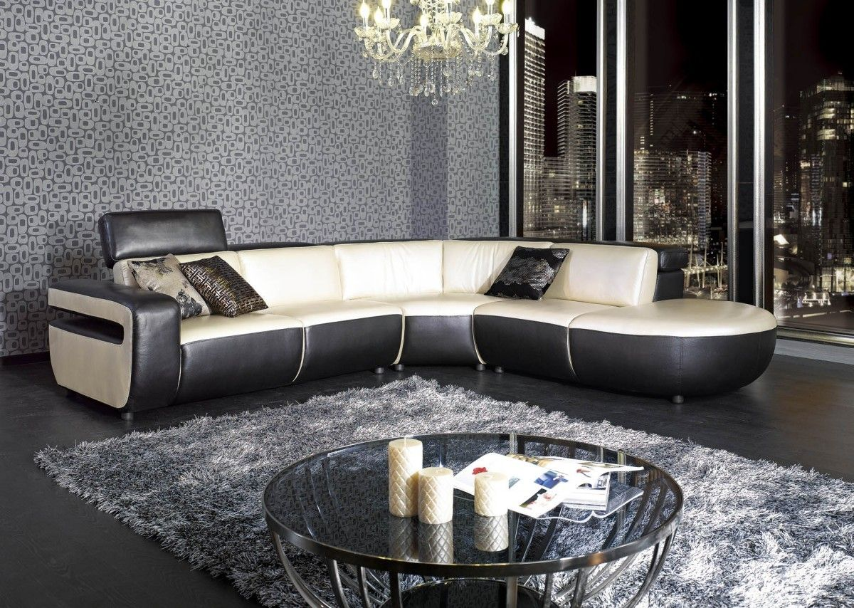 Black And White Pearl Leather Sectional Sofa