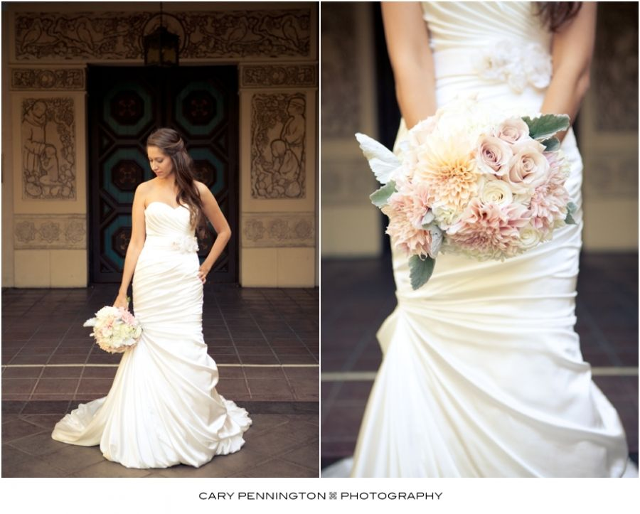 Bride and her wedding bouquet at the Prado at Balboa Park - San Diego wedding photographer, Cary Pennington