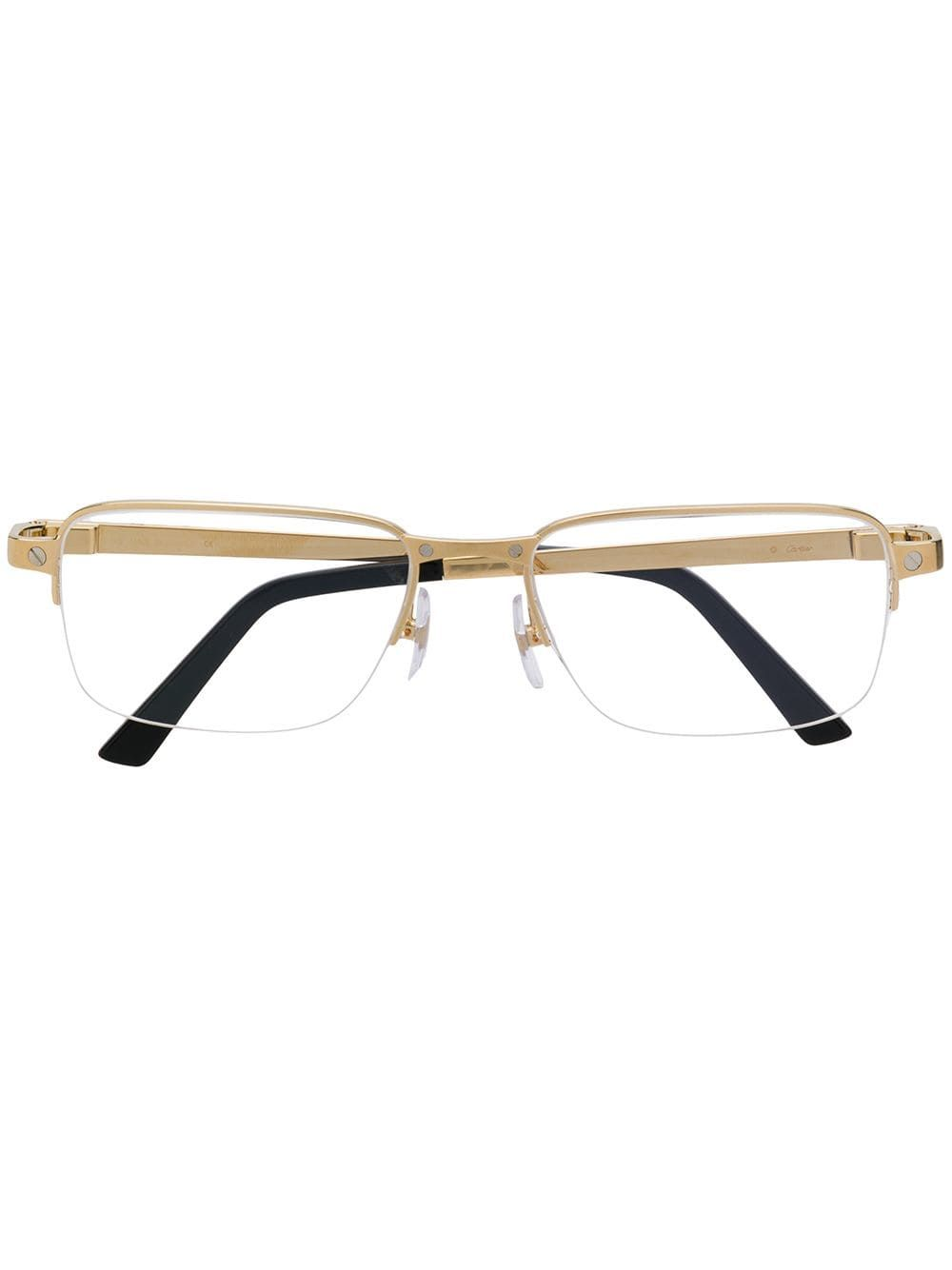 Cartier Rectangle Frame Glasses In Gold Modesens Glasses Cartier Gold Tone Metal