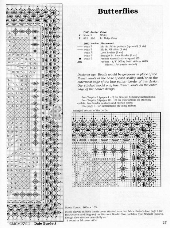 Cross Stitch Embroidered Trims Borders Instructions Definitely