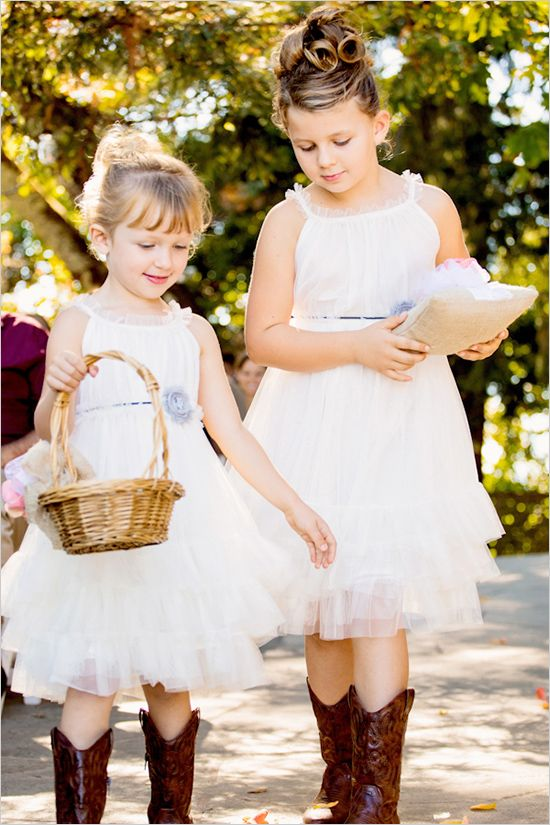 Flower girls in cowboy boots with color of bridesmaid for Country wedding flower girl dresses