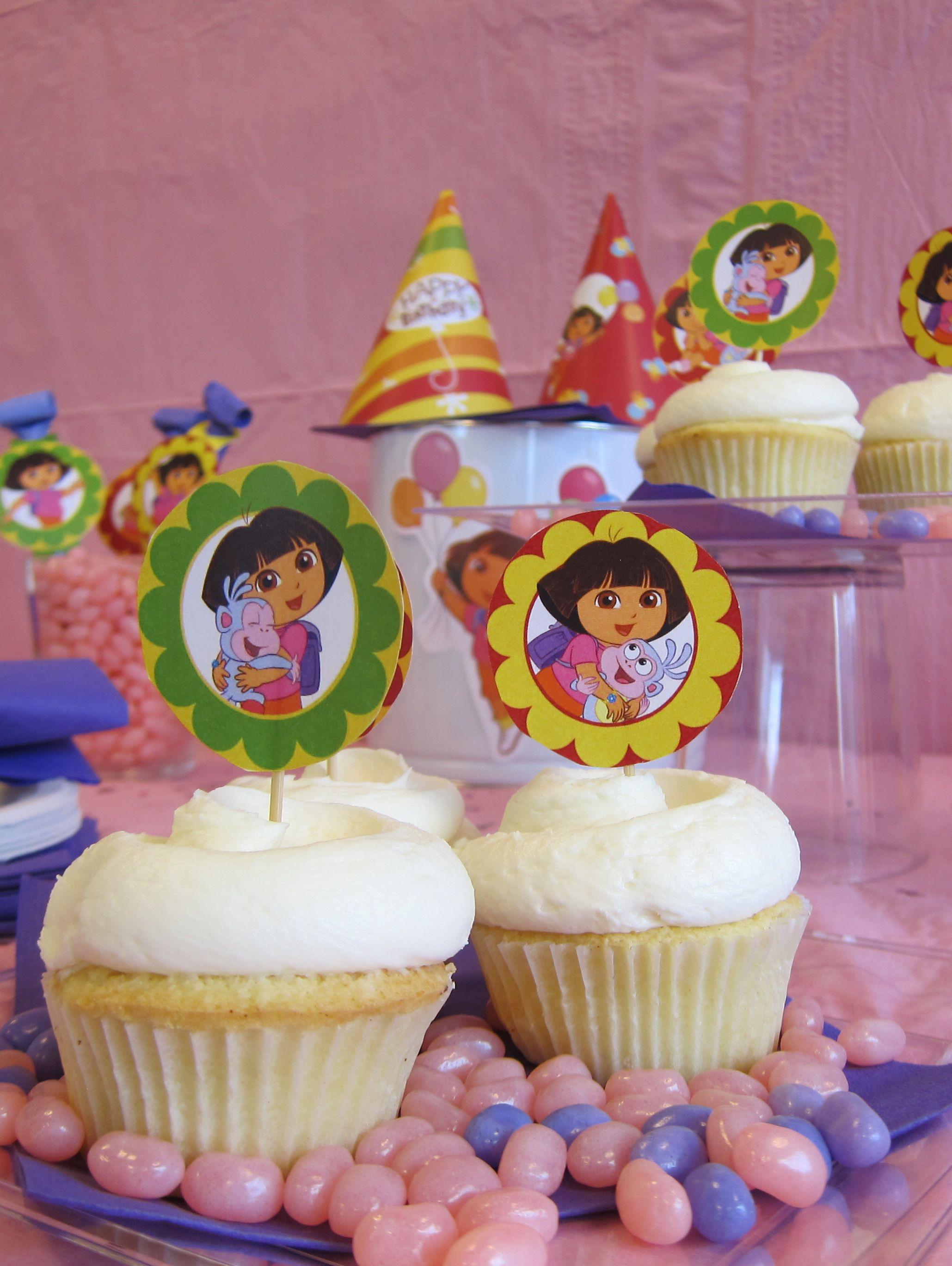 Dora Birthday Party Cupcake Toppers Simple cupcakes Birthdays and