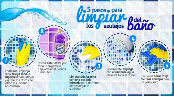 5 pasos para limpiar los azulejos del baño | limpieza | Pinterest ...