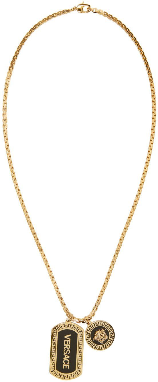 604cc54824418a Versace - Gold Logo & Medusa Necklace - black mens jewelry, mens chains  jewelry, unique mens jewelry