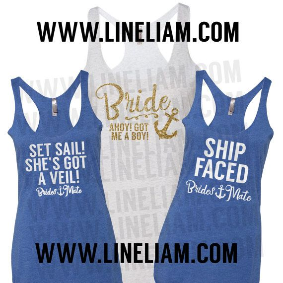 BRIDAL SALE Bridesmaid Tanks Nautical Bridesmate Shirts
