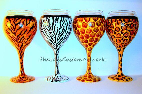 Animal Print Pattern Leopard Tiger, Zebra, Giraffe Hand painted Wine 20 oz. Glass Goblet Jungle Print Wine Glass (SINGLE GLASS) Gift For Her #junglepattern