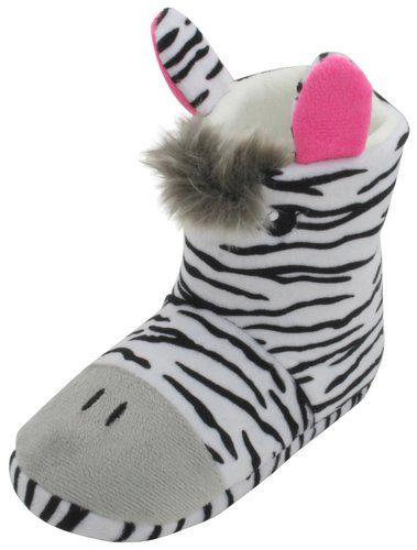 4e3bf37130d Girls 3D Zebra Plush Fleece Novelty Slipper Boots