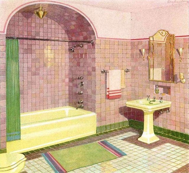 1920s bathroom from color charm enters the bathroom by for Bathroom decor 1920 s