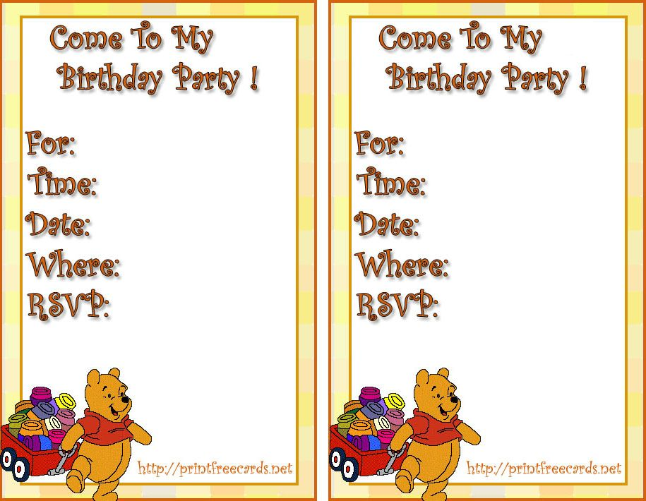 Disney Winnie The Pooh Invitations Cards Free Printable Party – Invitations for Birthday Party Templates