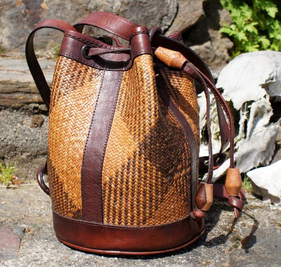 Tribal ethnic woven leather convertible purse