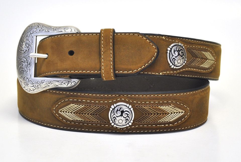 Nocona Men/'s Western Longhorn Concho Barbed Lace Leather Belt-Brown
