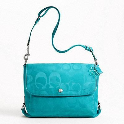 COACH KYRA TEXTURED OPTIC MESSENGER TURQUOISE FREE SHIPPING & PHOTONS NEW
