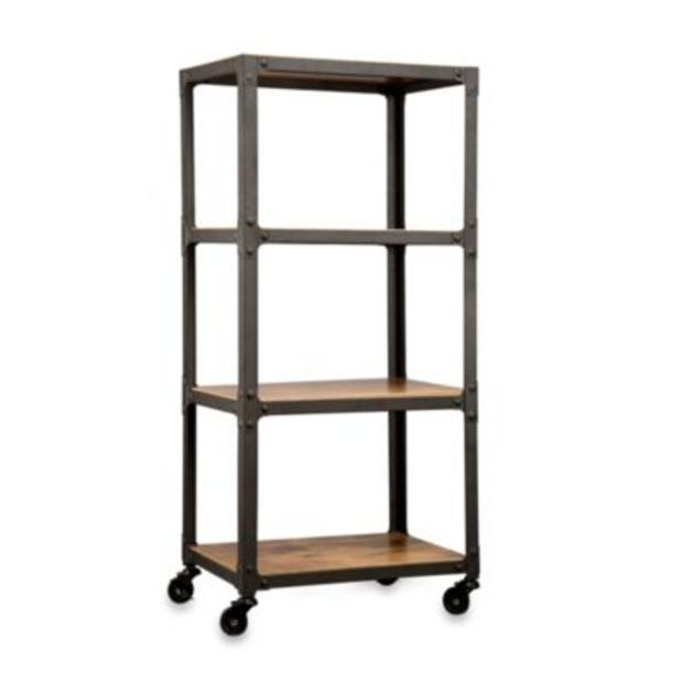 Loft Living Wood & Metal 4-Tier Rolling Cart