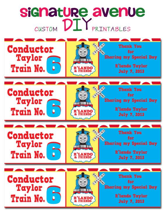 Thomas Train Water Bottle Labels