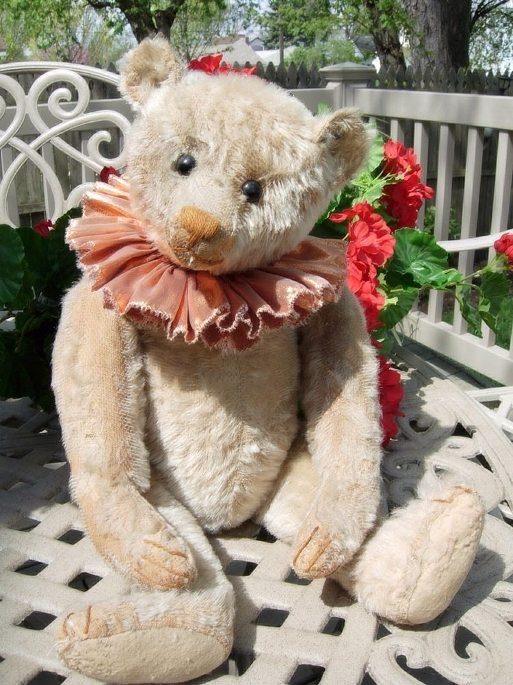 Antique Early Steiff White Teddy Bear 18 Inch With Button