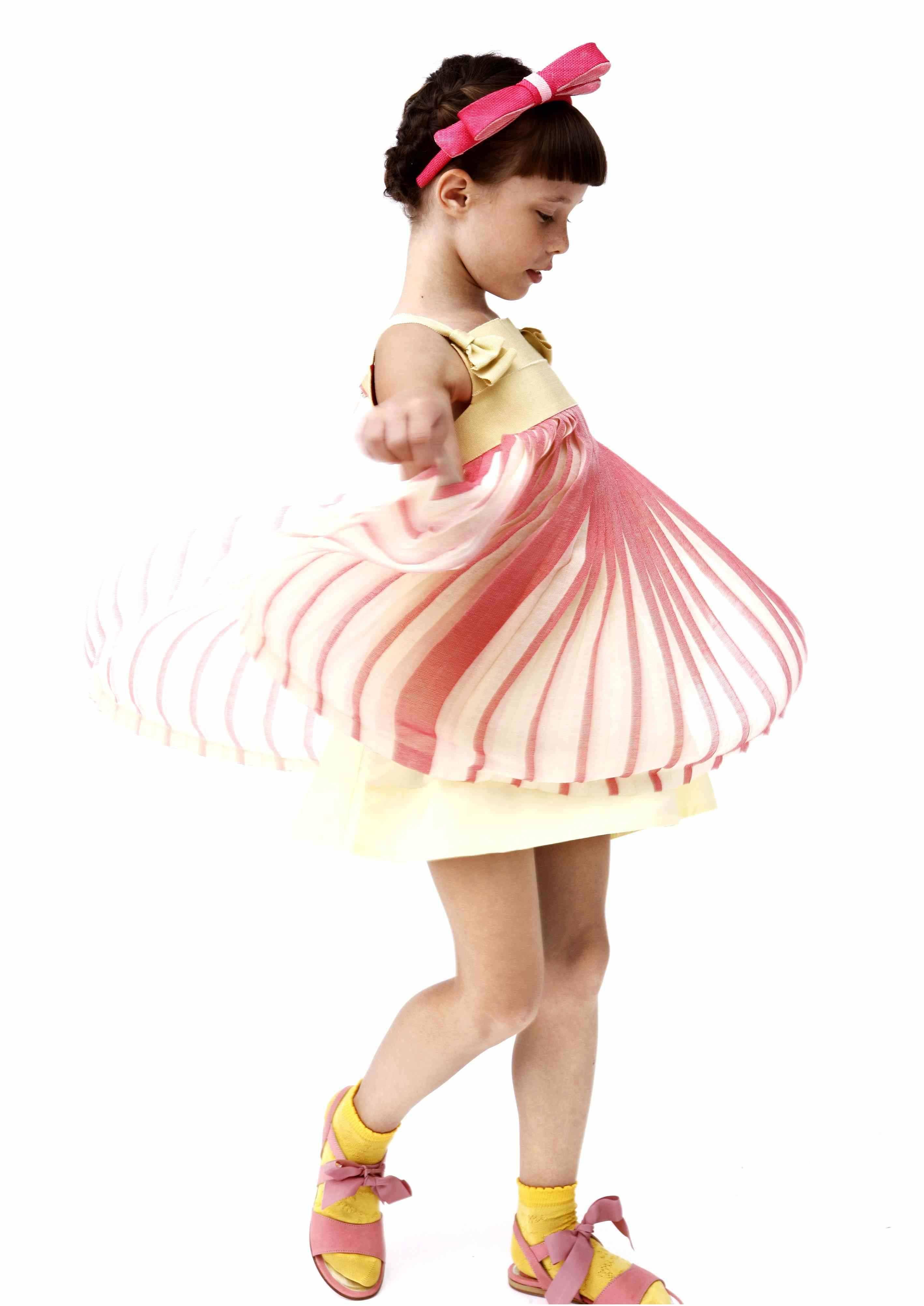 Mimi Sol summer 2013 Sweet fan pleated layer dress in sorbet pastels for kidswear
