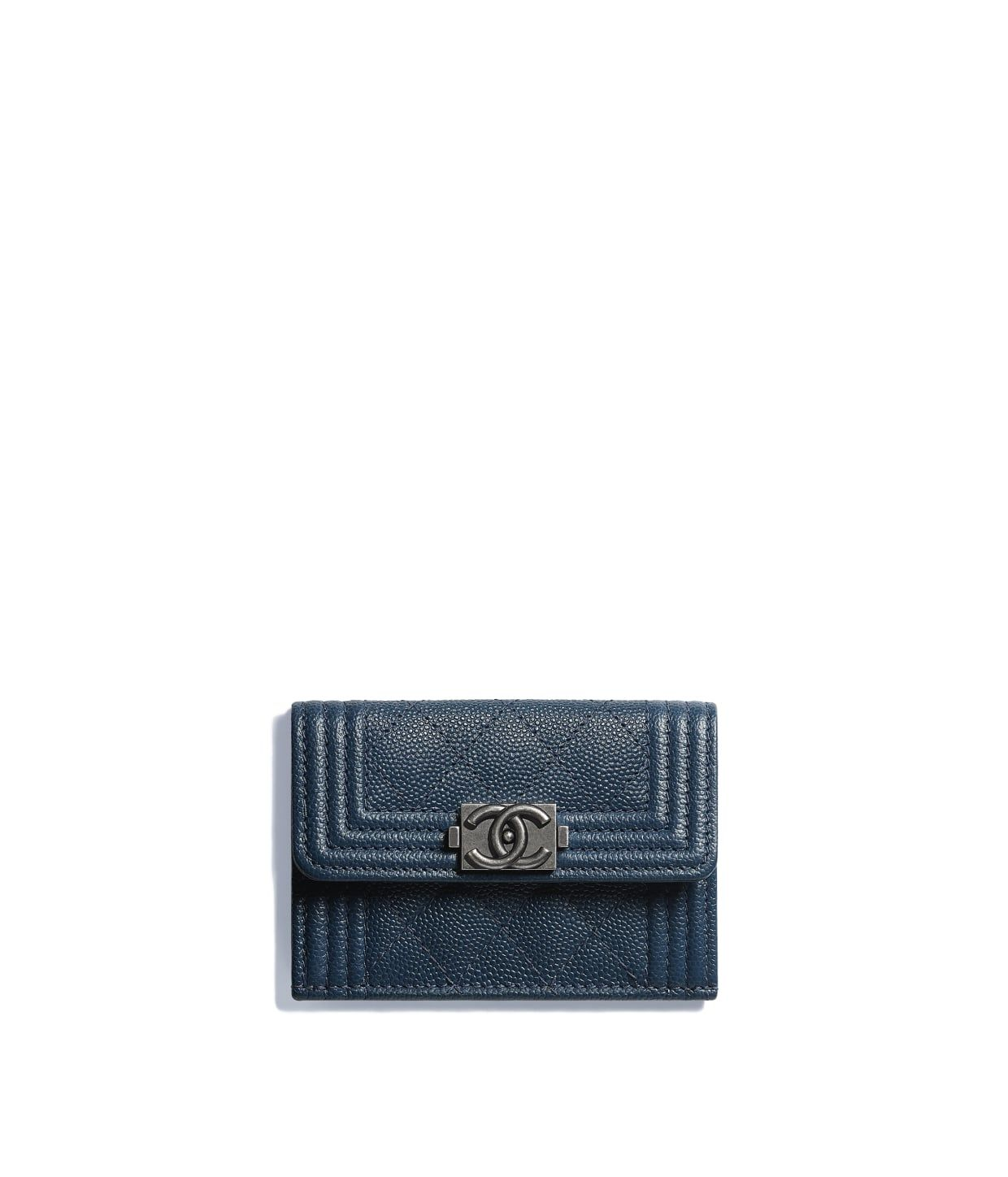 04d855af3ffb Discover the CHANEL Grained Goatskin & Ruthenium-Finish Metal Dark Blue BOY  CHANEL Small Flap Wallet, and explore the artistry and craftsmanship of the  ...