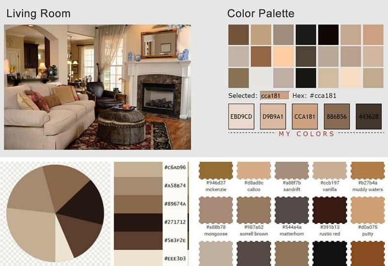 Living Room With Earth Tones Color Palette Analysis Color Palette Living Room Living Room Color Schemes Color Palette Interior Design