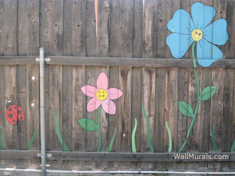 Painted fence my back yard home and cool ideas for Fence painting ideas