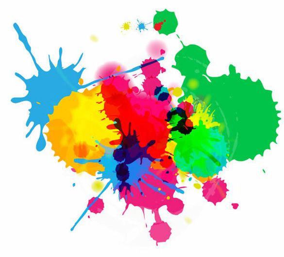 XOO Plate :: Colorful Ink Splashes On White Vector Background - Joyful play with ink on white background.