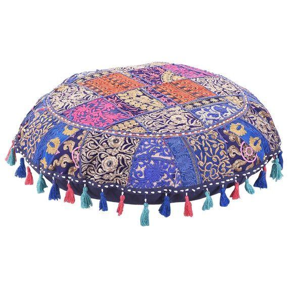 Express Shipping Handmade Colorful Floor Decor Round Pillow 22'' inch Bohemian BLUE meditation Cushion Floor Cushion Indian Seating Ottoman