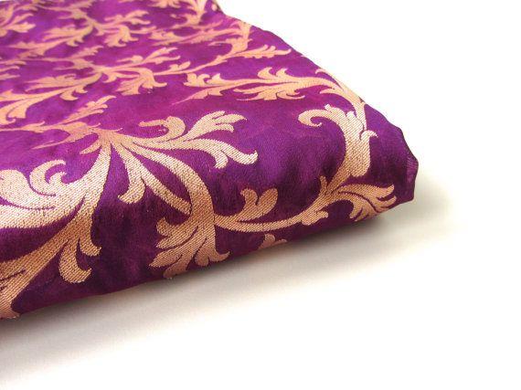 Deep purple golden branches  India silk brocade door SilksByUmf
