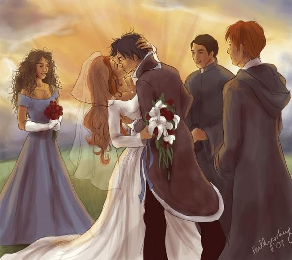 Ginny And Harry S Wedding Wizard Tuxedo Is Awesome Also Hermione S Hair Harry Potter World Ginny Weasley Fanart Harry Potter
