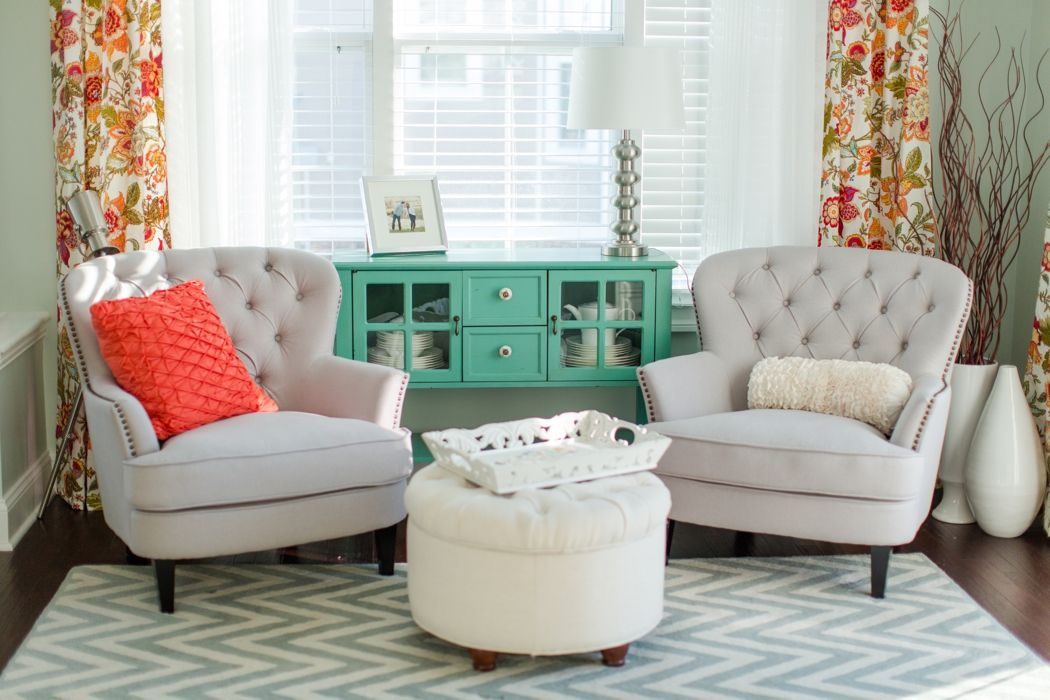 turquoise and coral · Master Bedroom Furniture IdeasComfy ChairSea Salt Sitting RoomsSitting Room ...