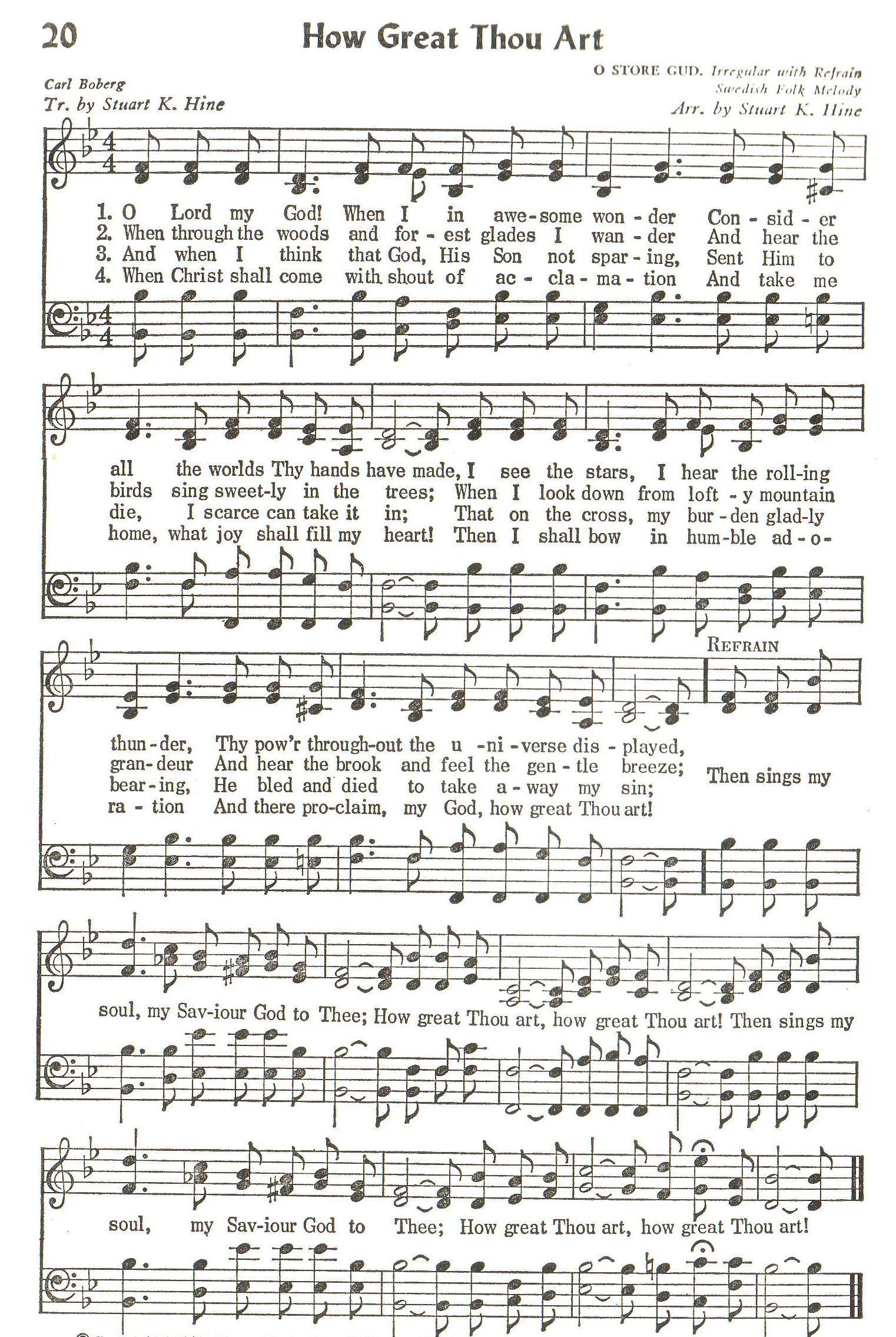 How great thou art hymn satb hymn gospel song