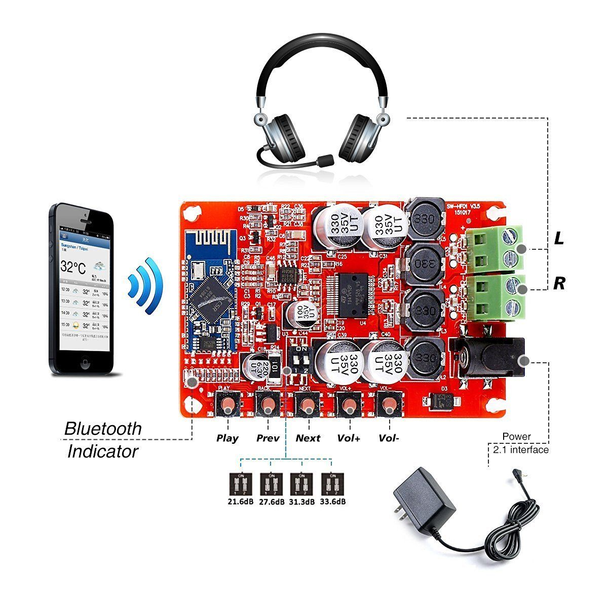 Tda7492p 2 X 50 Watt Dual Channel Amplifier Wireless Digital Mosfet Electronic Circuits And Diagramelectronics Bluetooth 40 Audio Receiver Board 50w