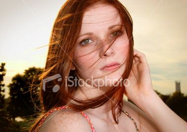 Young Red Haired Woman Windy Outdoors Royalty Free Stock Photo