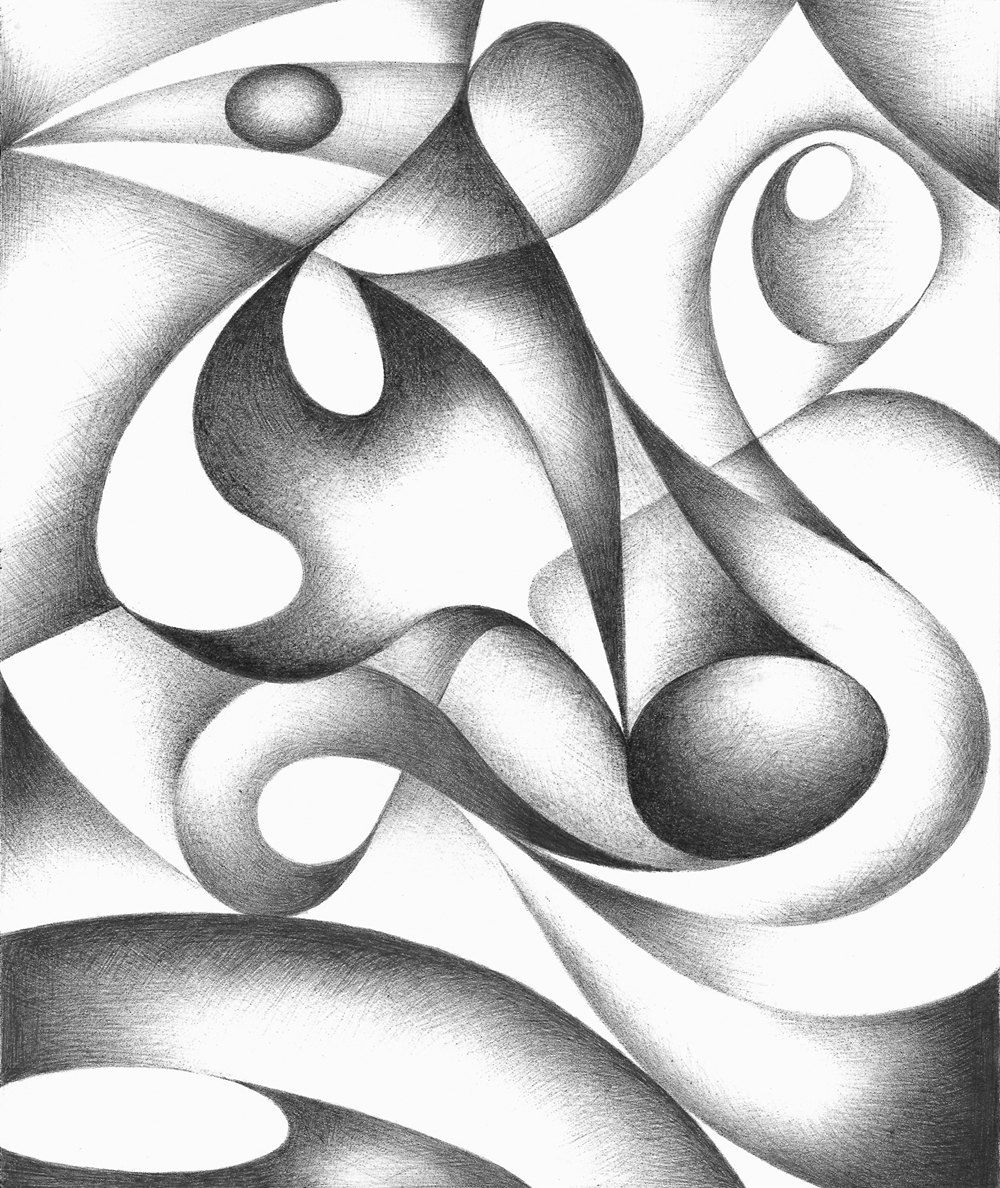Original abstract drawing black and white geometric freehand pen drawing contemporary art
