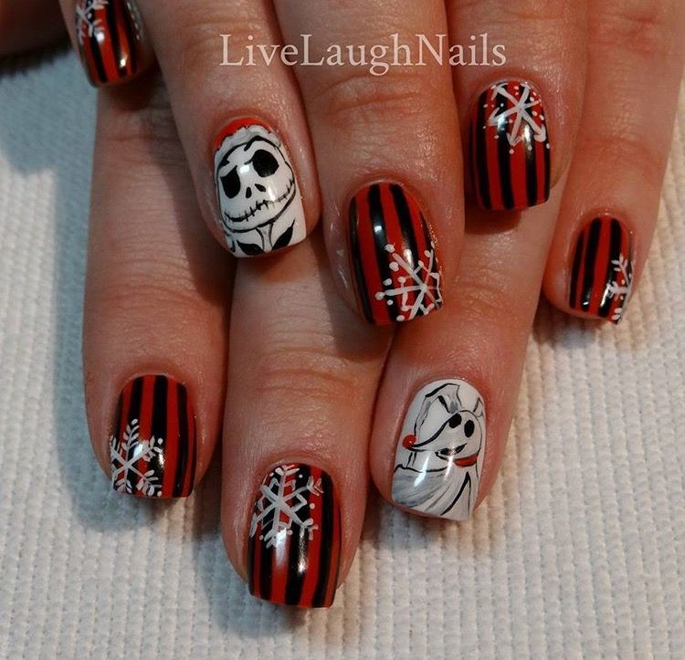 Nightmare Before Christmas Nails Holiday Nails Pinterest