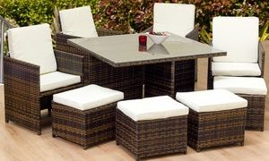 Oseasons Cube Rattan Eight Seater Dining Set In Cappuccino For