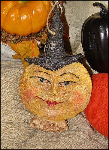 Vintage Style Paper Mache Moon Witch Halloween Folk Art Paper Mache Halloween Paper