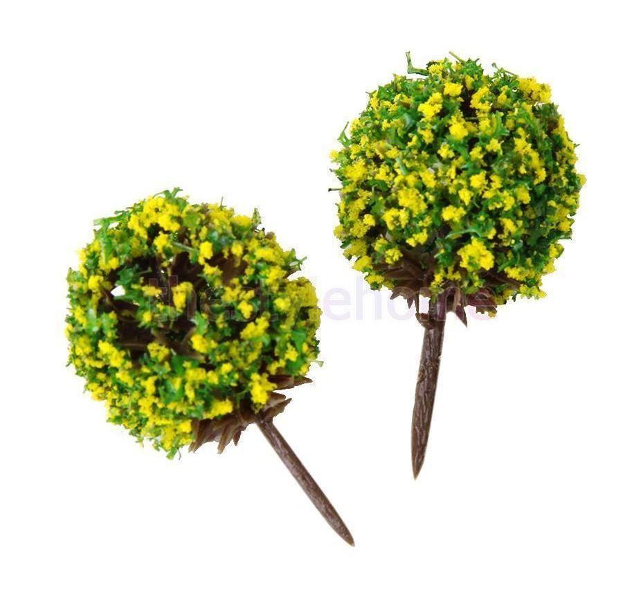Miniature Dollhouse Fairy Garden Model Yellow Flowering Shrub - Set ...