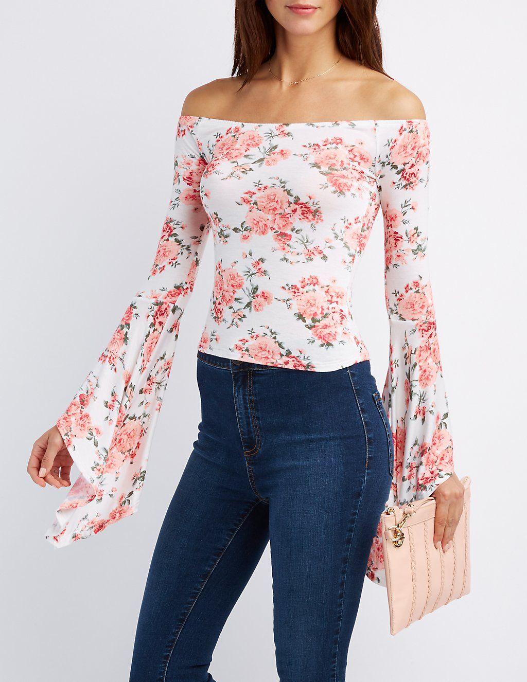7af016cf6afcd Floral Off-The-Shoulder Bell Sleeve Top