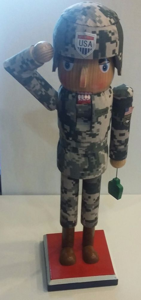 """Large 14"""" USA Soldier in Army Camouflage Uniform Fatigues Wooden NUTCRACKER"""