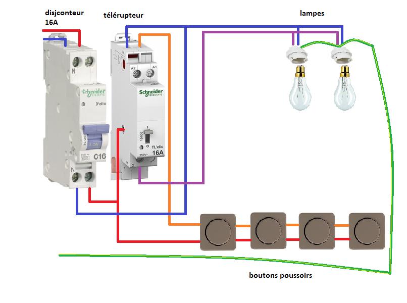 Installation Télérupteur Unipolaire Schneider Câblage électrique Maison Plan Electrique Maison Installation Electrique Maison