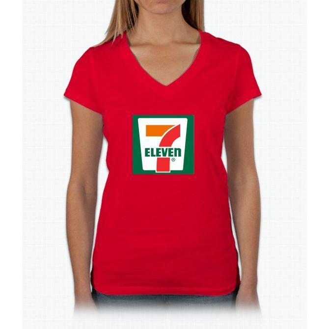 7-11 Logo, Simple. Womens V-Neck T-Shirt