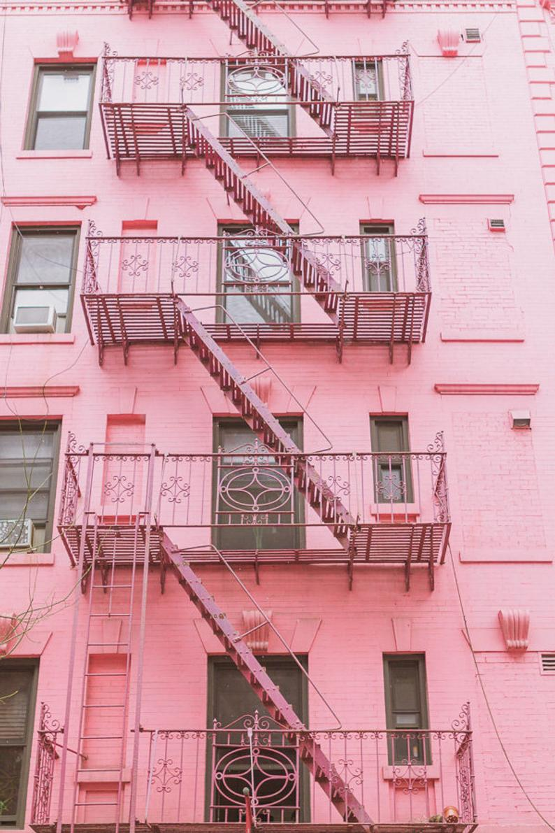 New York City Photography Pink NYC Art Manhattan Soho Architecture Fire Escape Pastel Building Photo Wall Art Prints