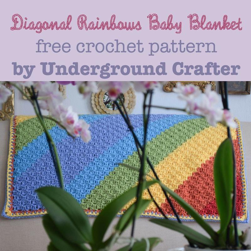 Diagonal Rainbows Baby Blanket, free #crochet pattern by Marie ...
