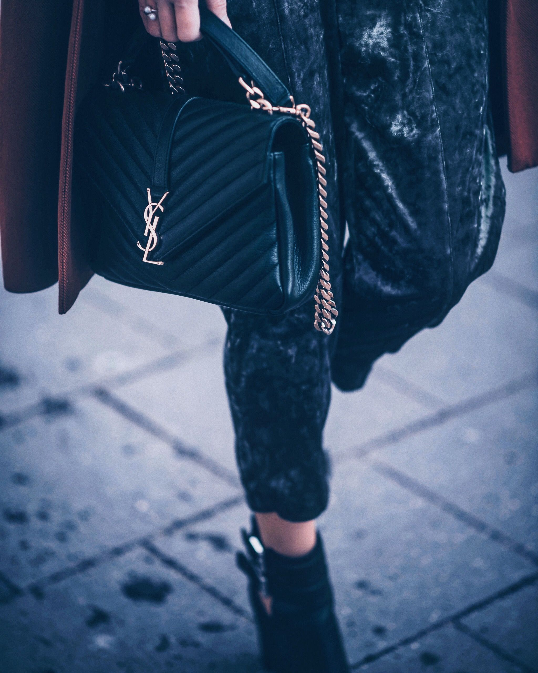 Tasche Tweed SHEIN Detail Stricken Kette Highstreet Schwarz hQdsrt